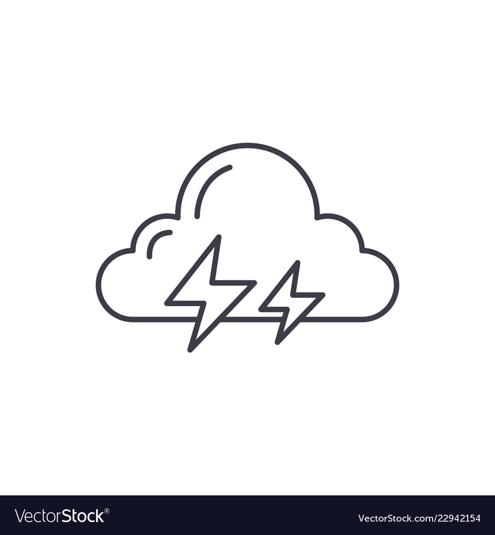 Thunderstorm line icon concept thunderstorm