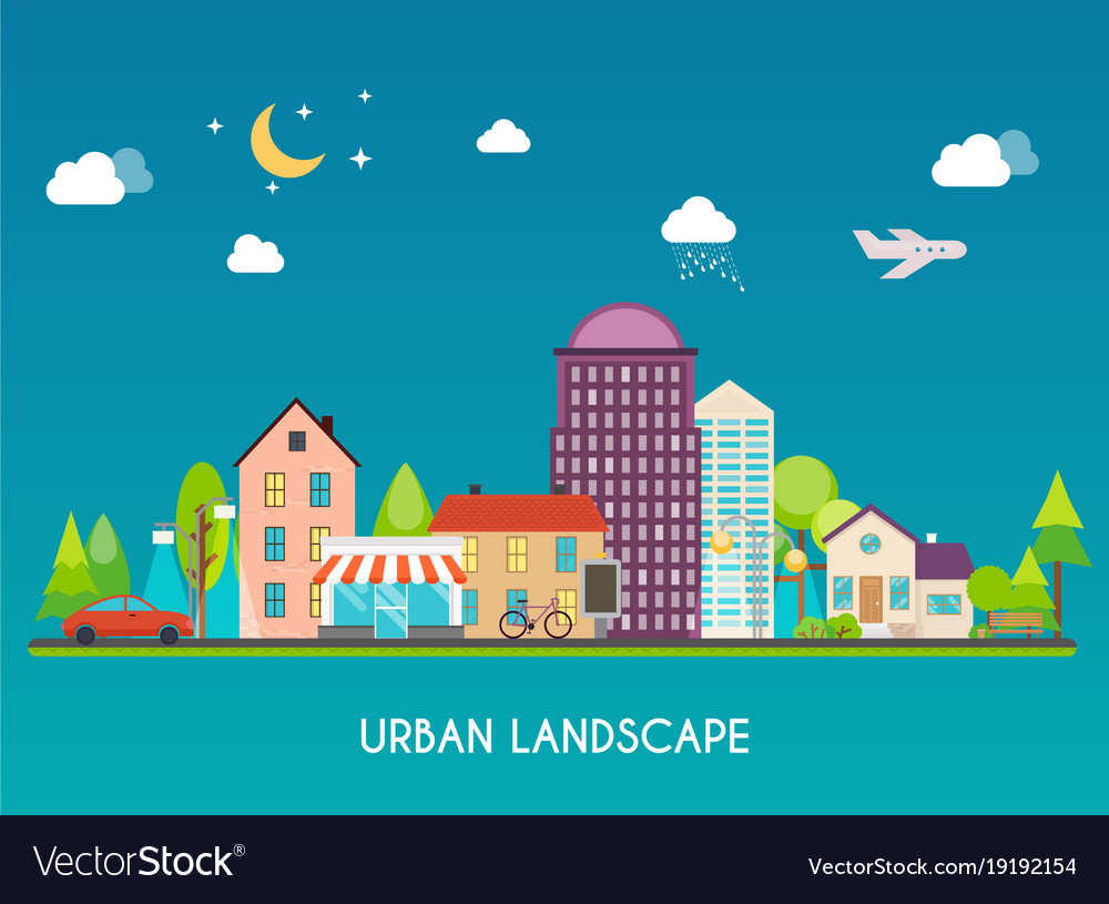 Urban landscape modern buildings and suburb with vector image