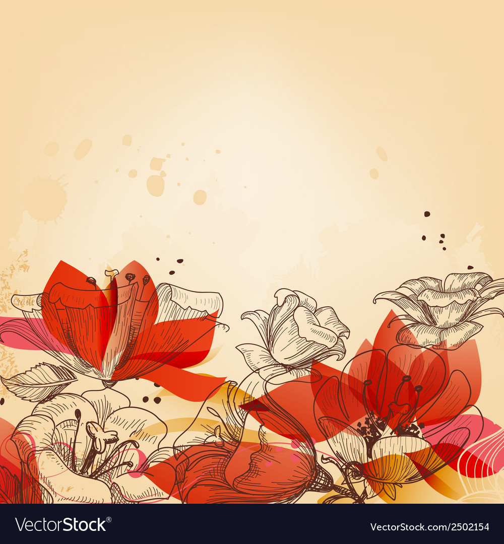 Vintage floral card abstract red flowers vector image