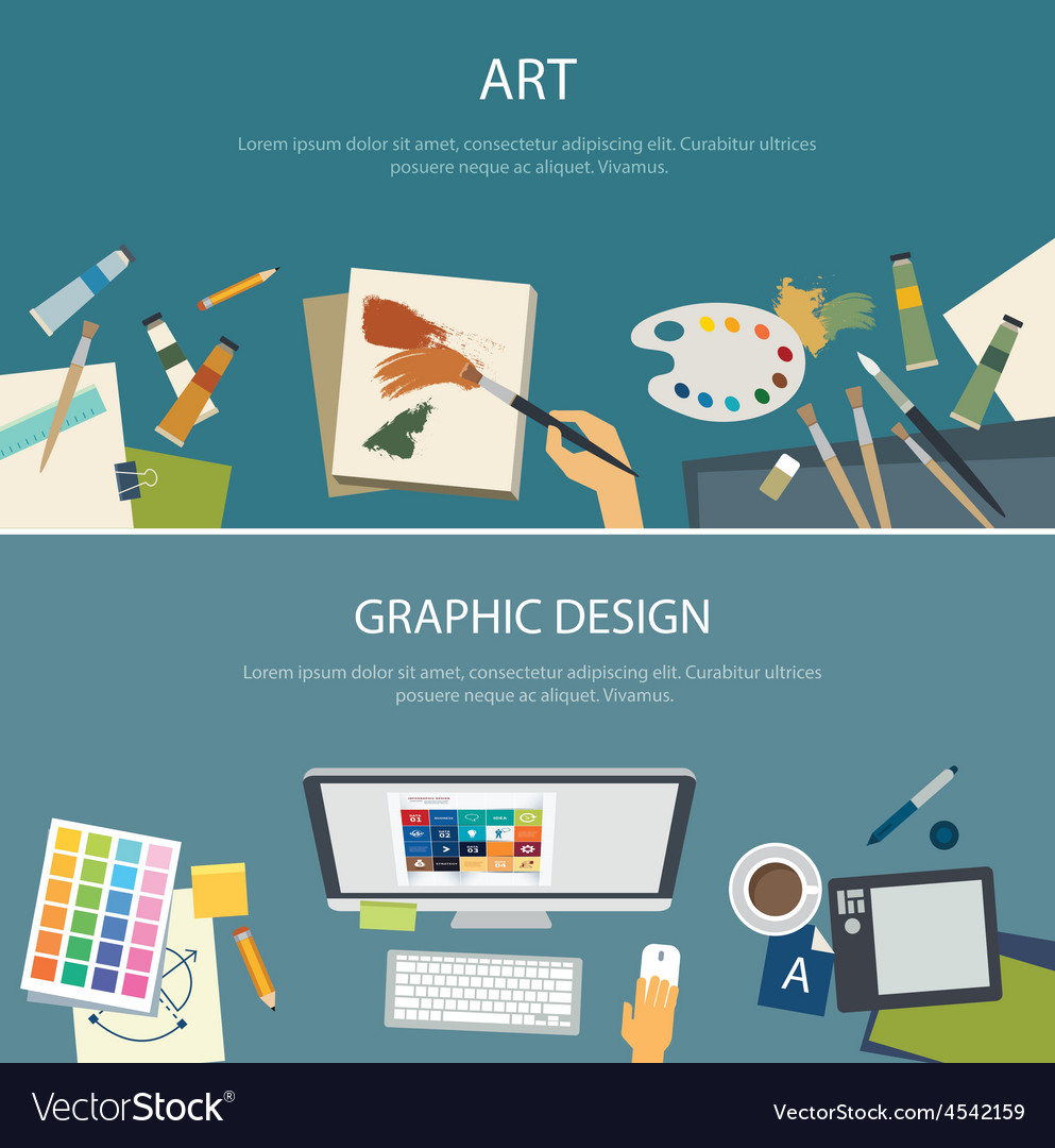 Art education and graphic design web banner vector image