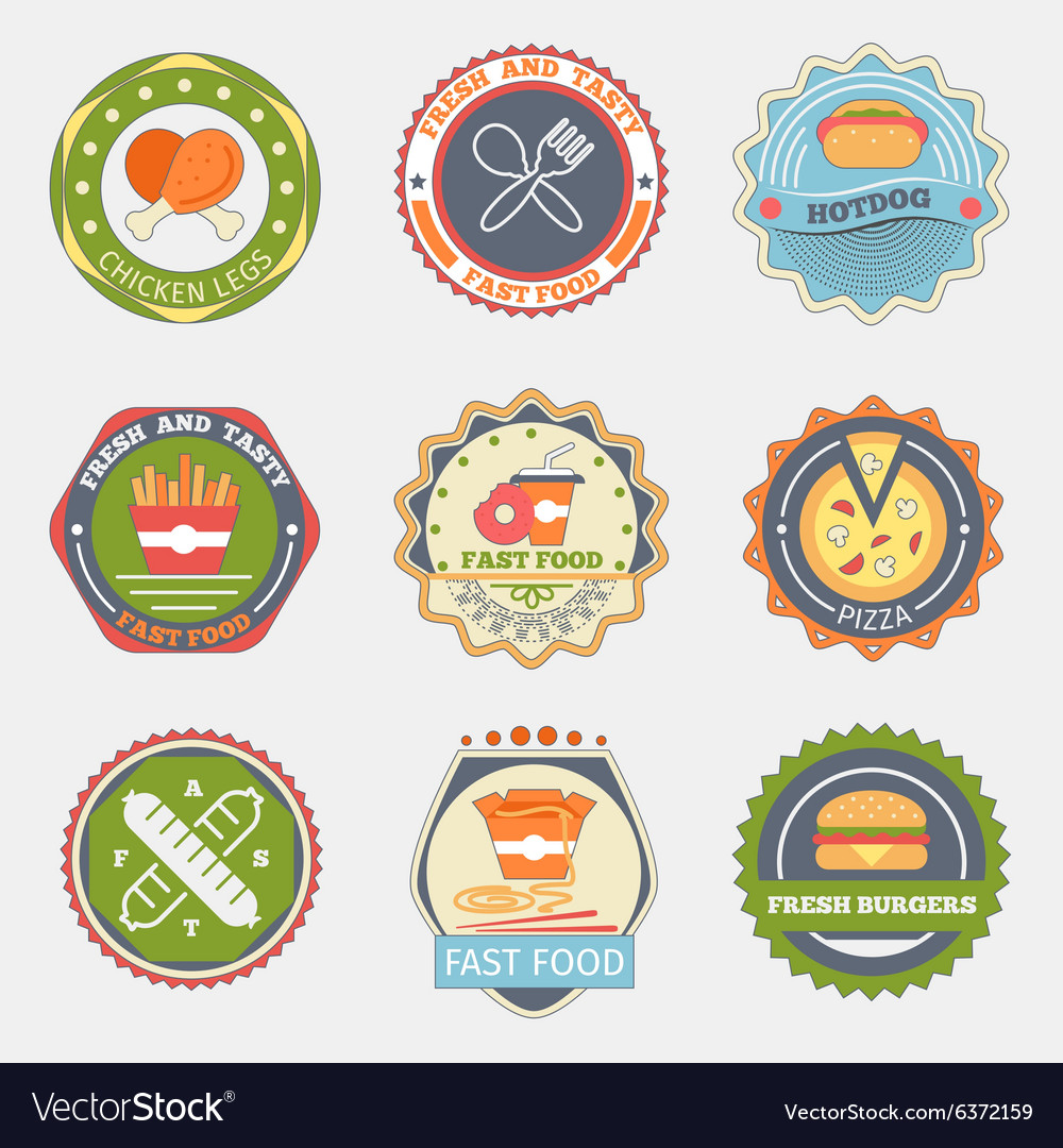 Fast food flat badges