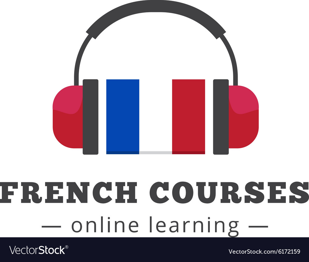 French courses logo concept with flag and vector image