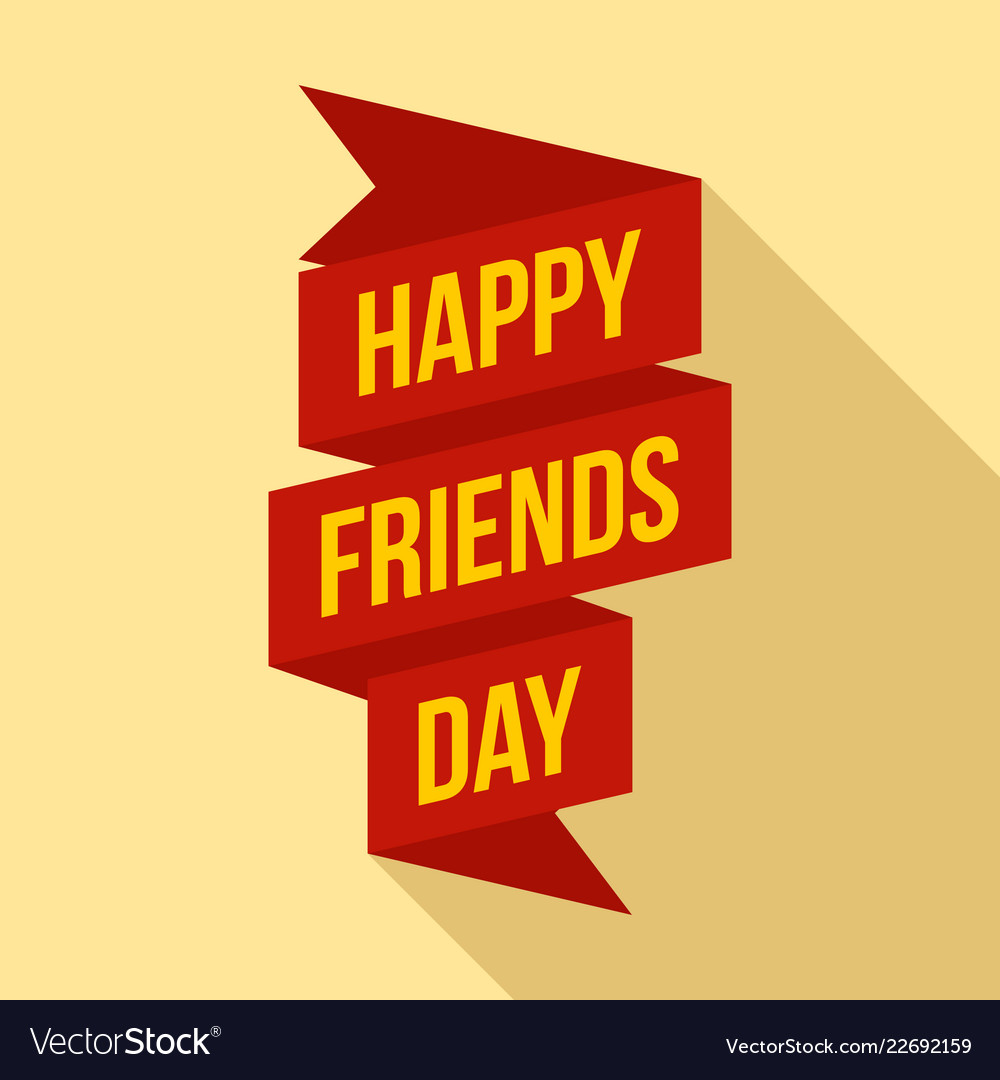 Happy friends day ribbon logo flat style