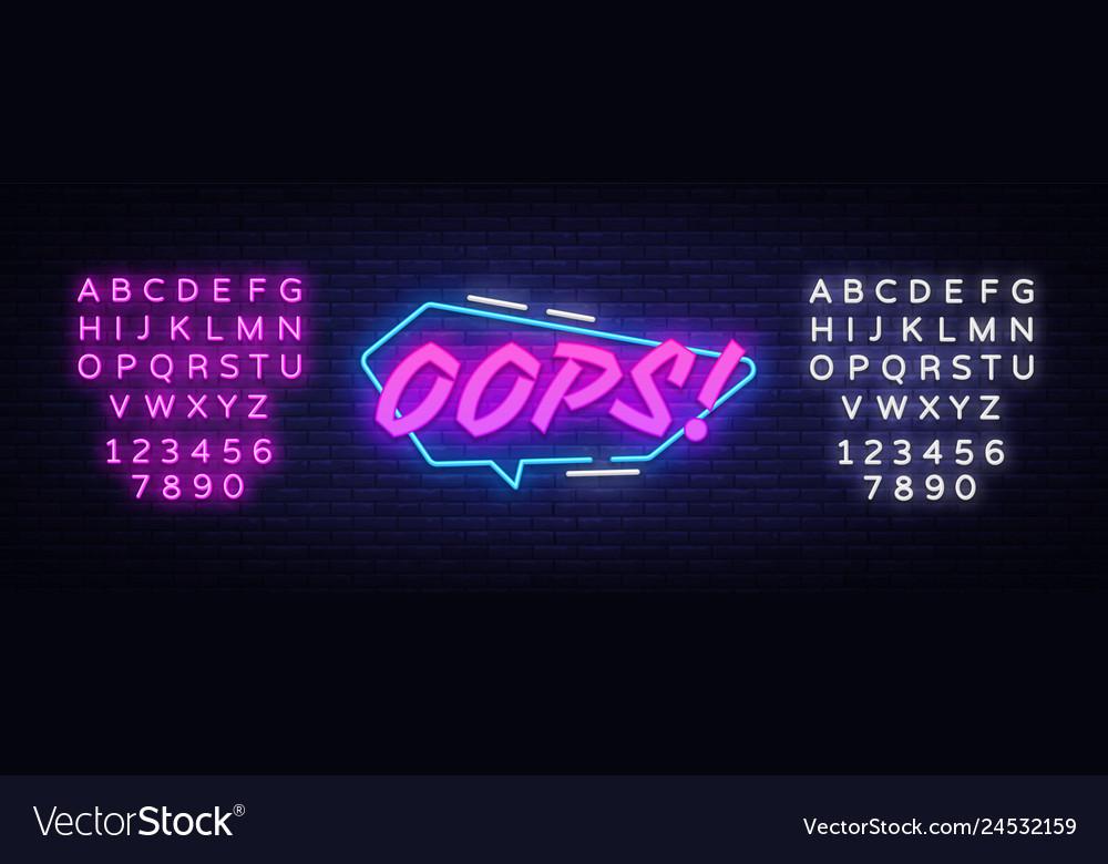 Oops neon sign comic speech bubble