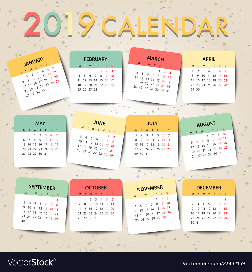 Pastel color calendar for 2019 template design