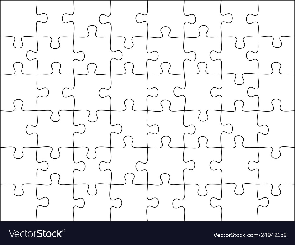 Puzzles grid template jigsaw puzzle 21 pieces Vector Image Intended For Blank Jigsaw Piece Template