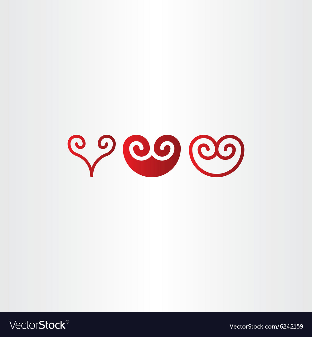 Red spiral heart icon set