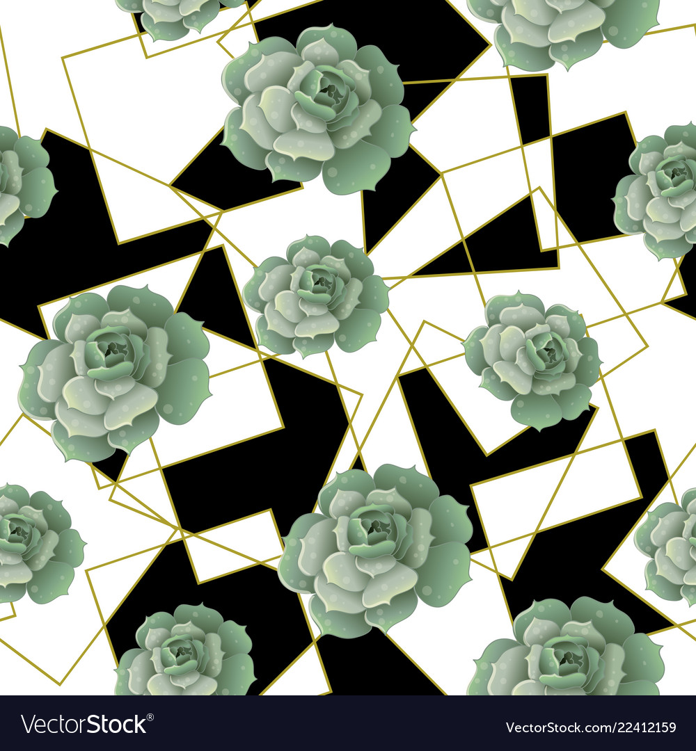 Seamless pattern with succulents and golden frames