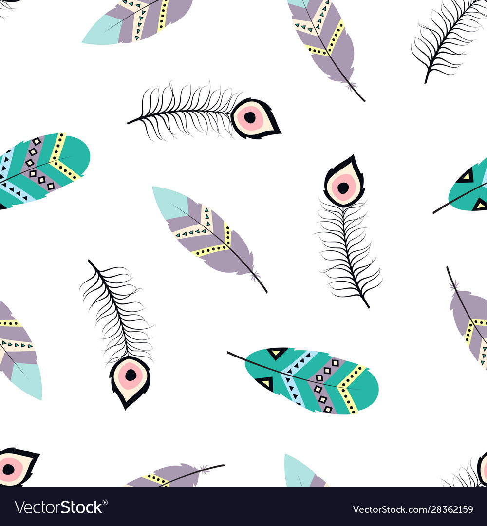 Seamless pattern with tribal feathers