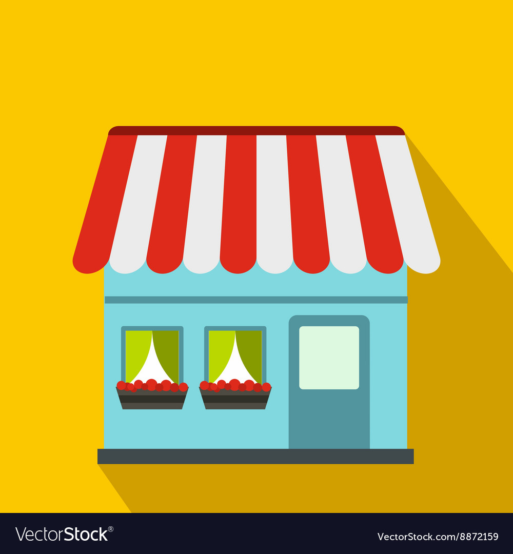 Shop building icon flat style