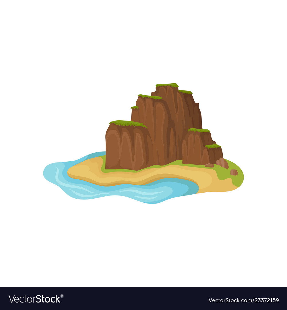 Small sandy island surrounded by water brown