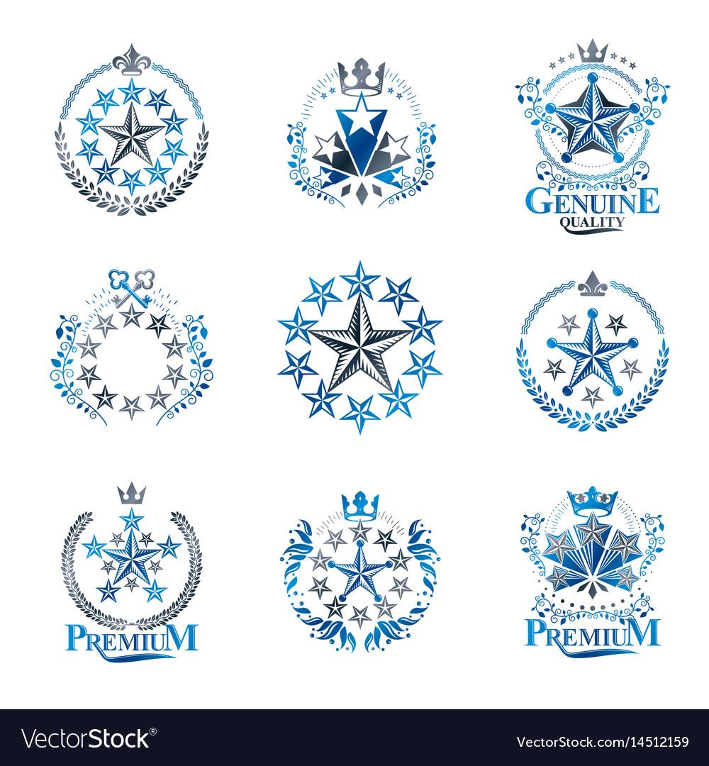 Stars emblems set heraldic coat of arms