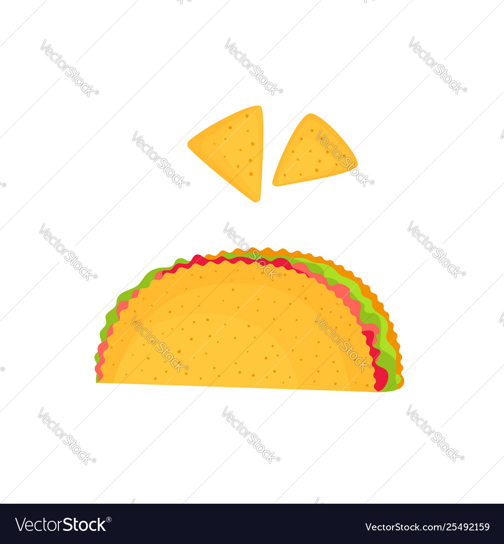 Taco and nachos isolated on a white background