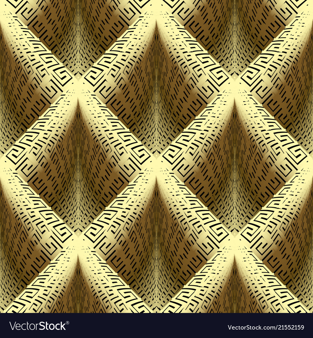 Waffle gold 3d greek key seamless pattern