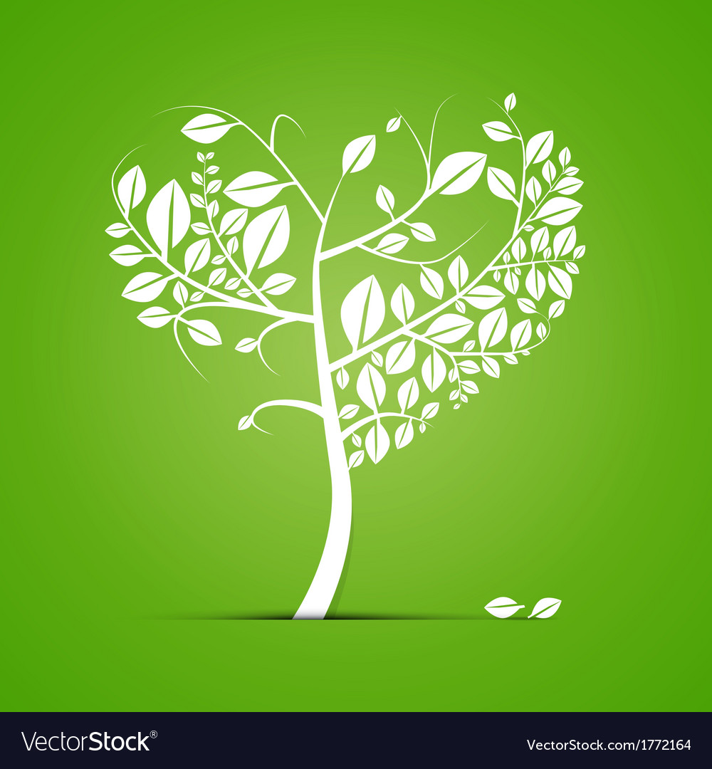 Abstract Heart Shaped Tree on Green Background