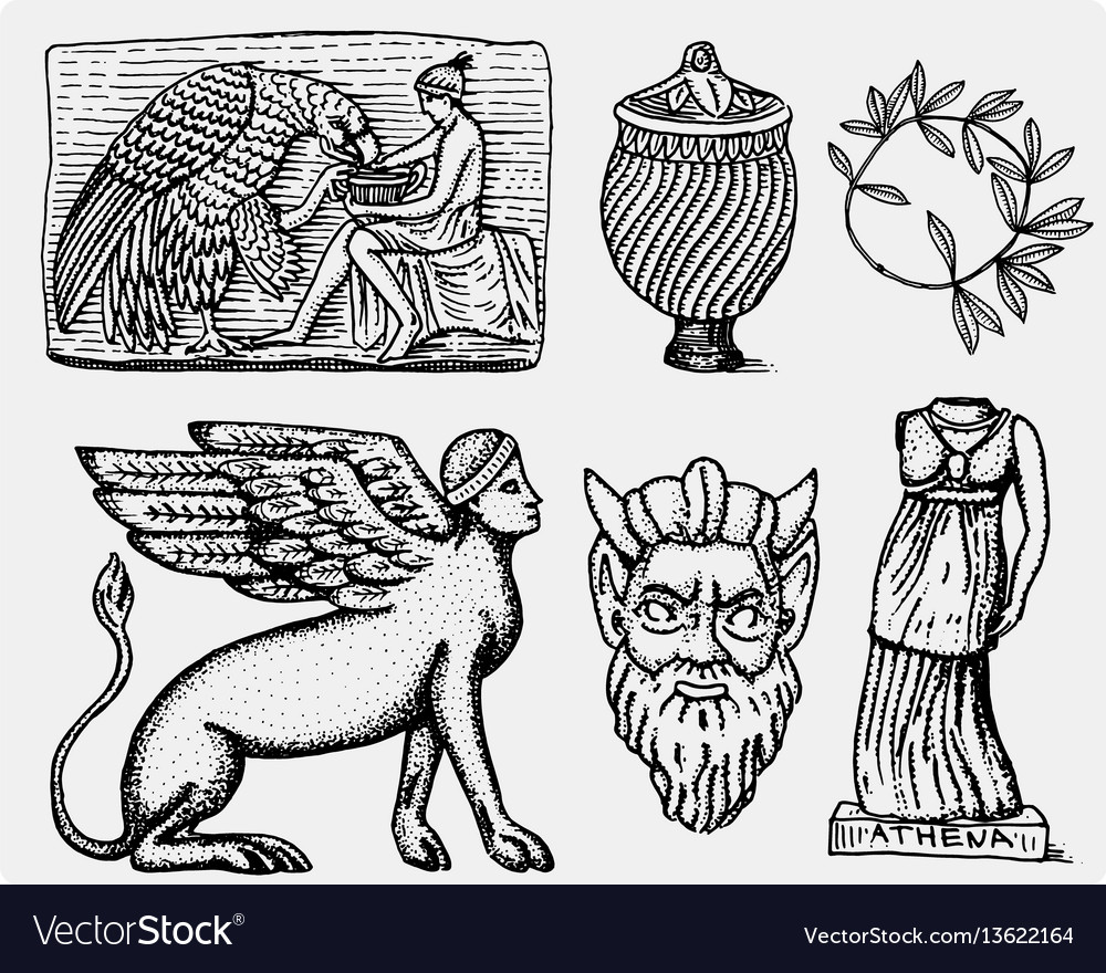 Ancient greece antique symbols ganymede and eagle