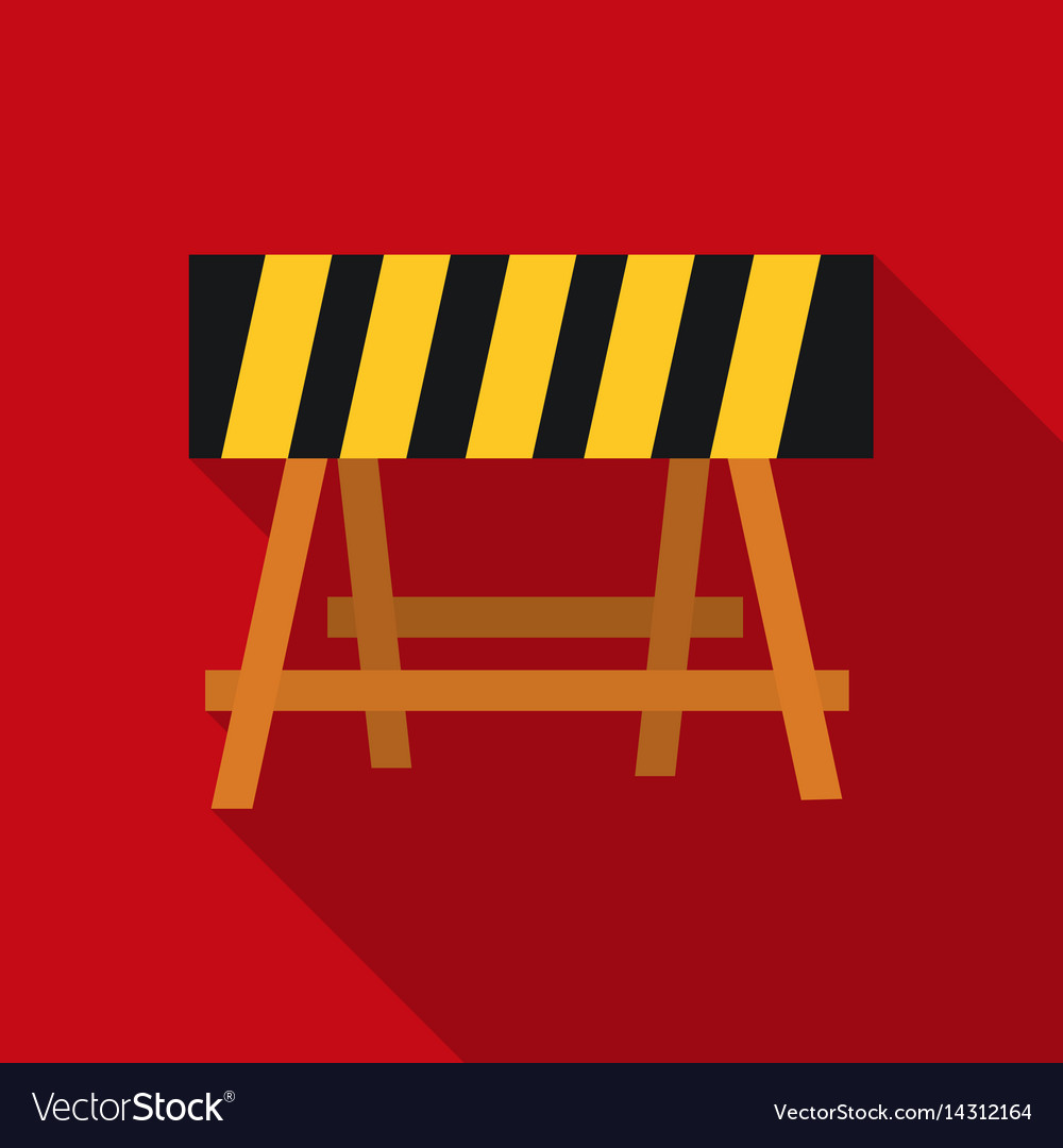 Construction barricade icon in flate style vector image