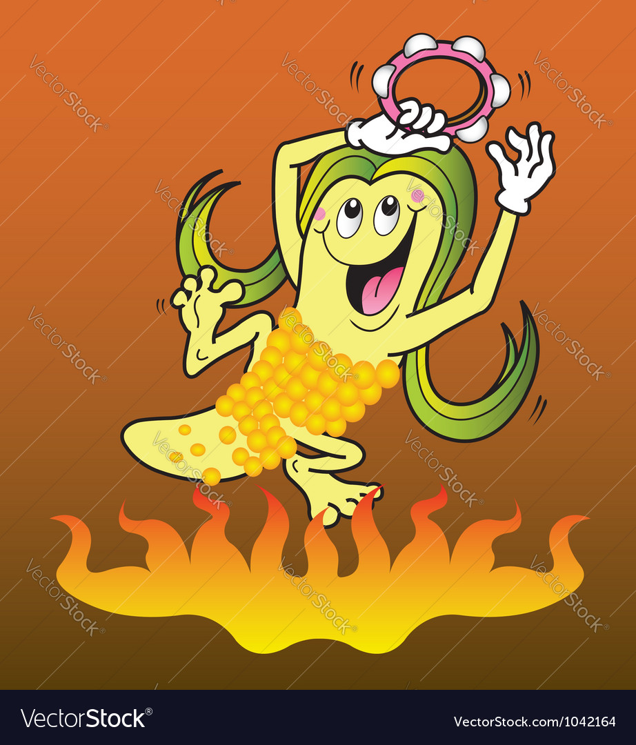 Corn cartoon character vector image
