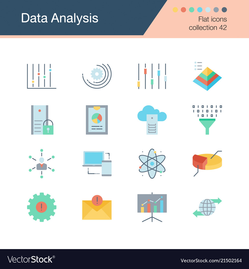 Data analysis icons flat design collection 42