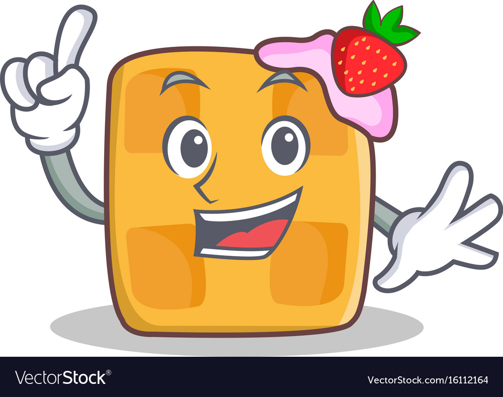 Finger waffle character cartoon design vector image