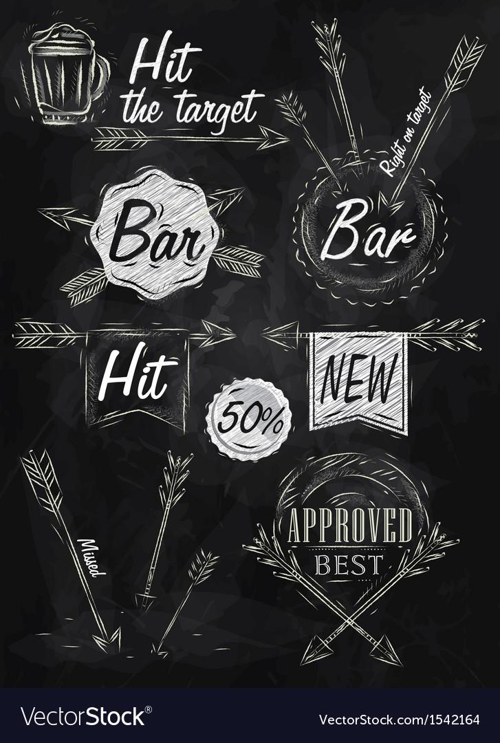 Set emblem of Bar Boom Arrow chalk