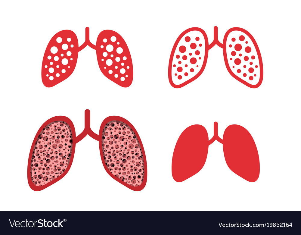 Set of lung cancer icons in design