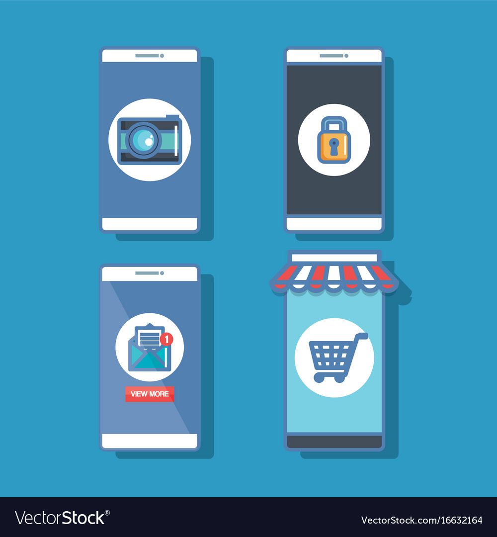 Set smartphone with application security buy vector image