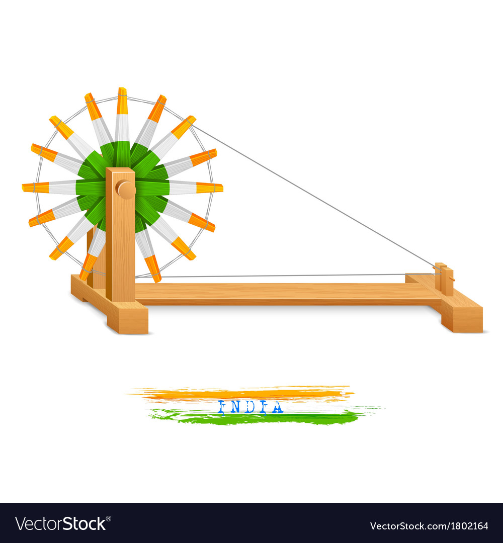 Tricolor Charkha Spinning Wheel vector image