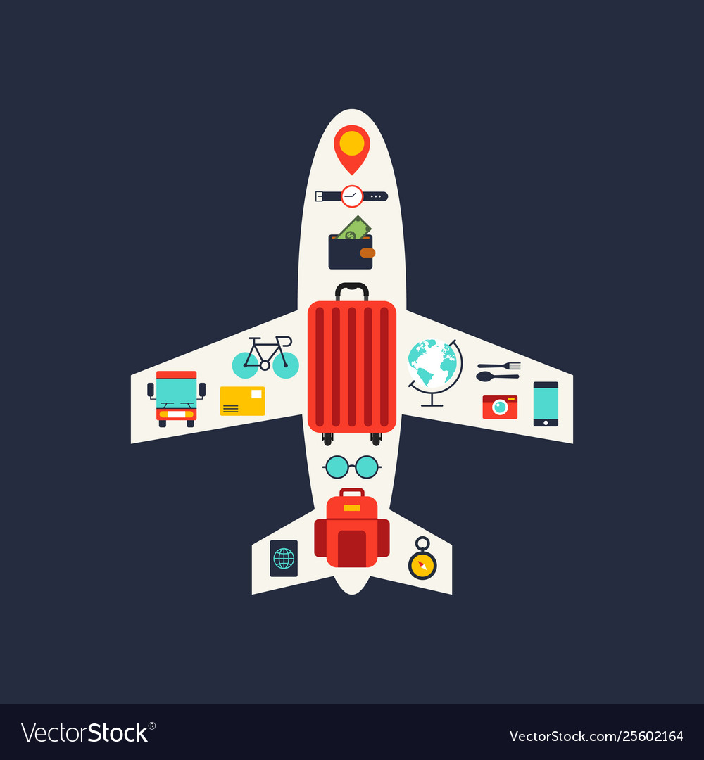 World travel concept flat icon design elements