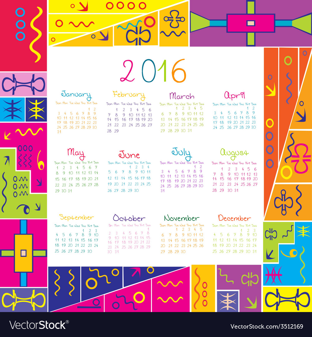 2016 calendar with frame for kids royalty free vector image