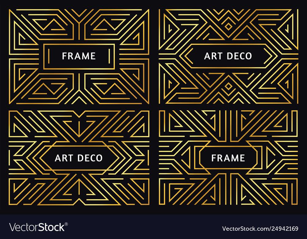 Art deco frames vintage golden line border