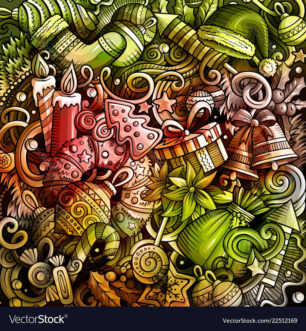 Cartoon watercolor hand drawn doodles new year
