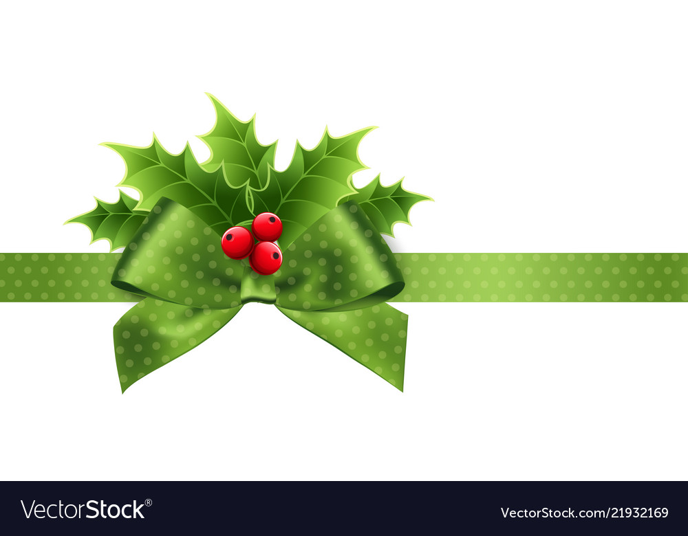 Christmas Leaves.Christmas Decoration With Holly Leaves And Bow