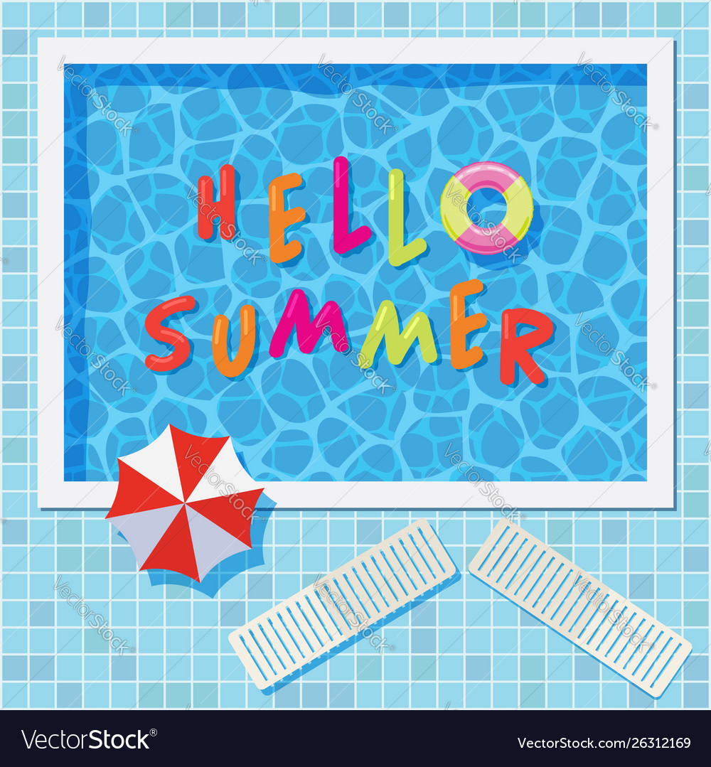 Colorful summer background with swimming pool