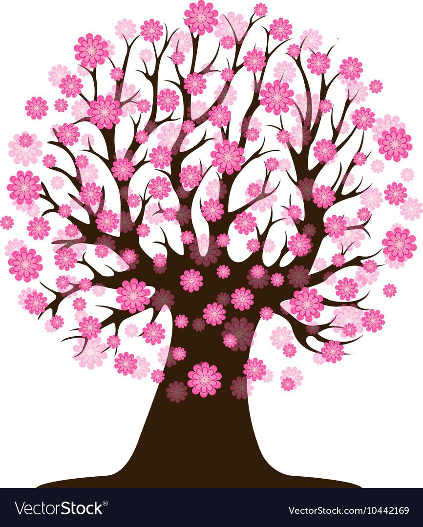 Decorative Beautiful Cherry Blossom Tree Vector Image