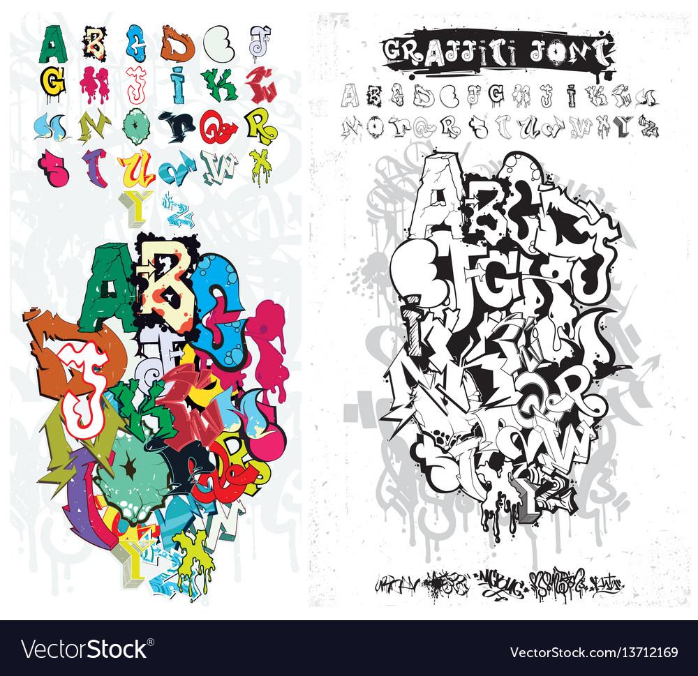 Graffiti street art alphabet vector image