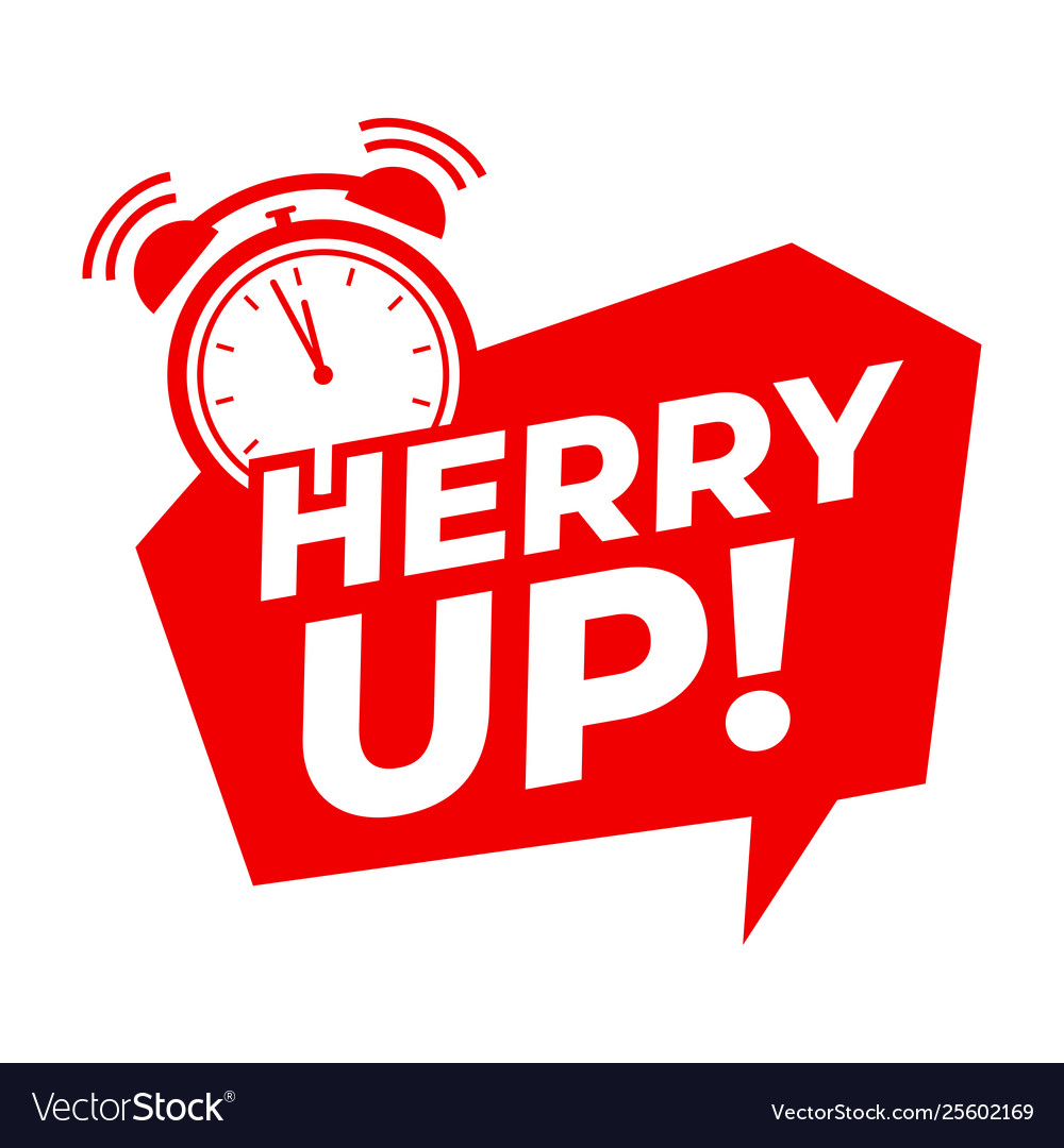 Hurry up with alarm clock symbol Royalty Free Vector Image