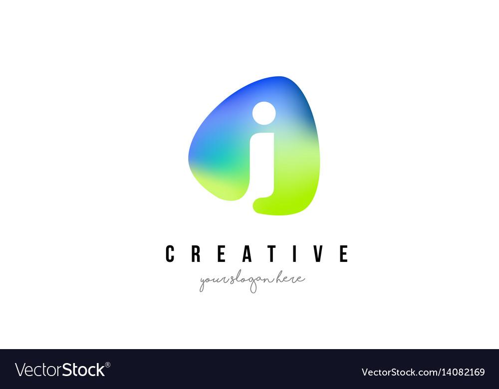 I letter logo design with oval green blue shape vector image