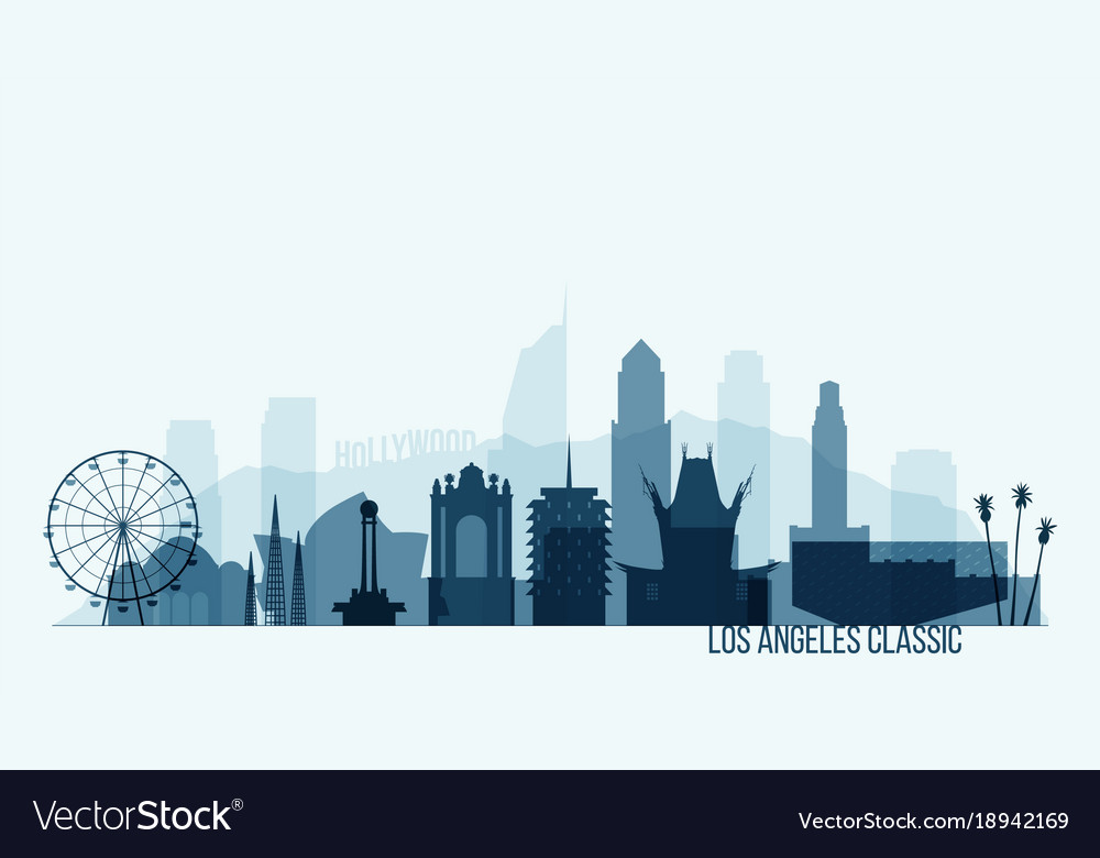 los angeles skyline buildings royalty free vector image rh vectorstock com los angeles skyline outline vector los angeles skyline vector free