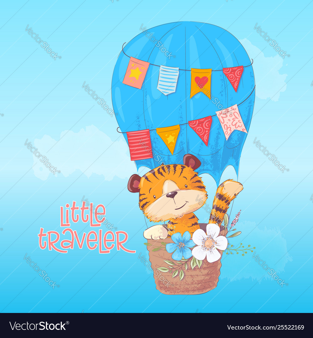 Poster cute tiger cub flies in a balloon cartoon