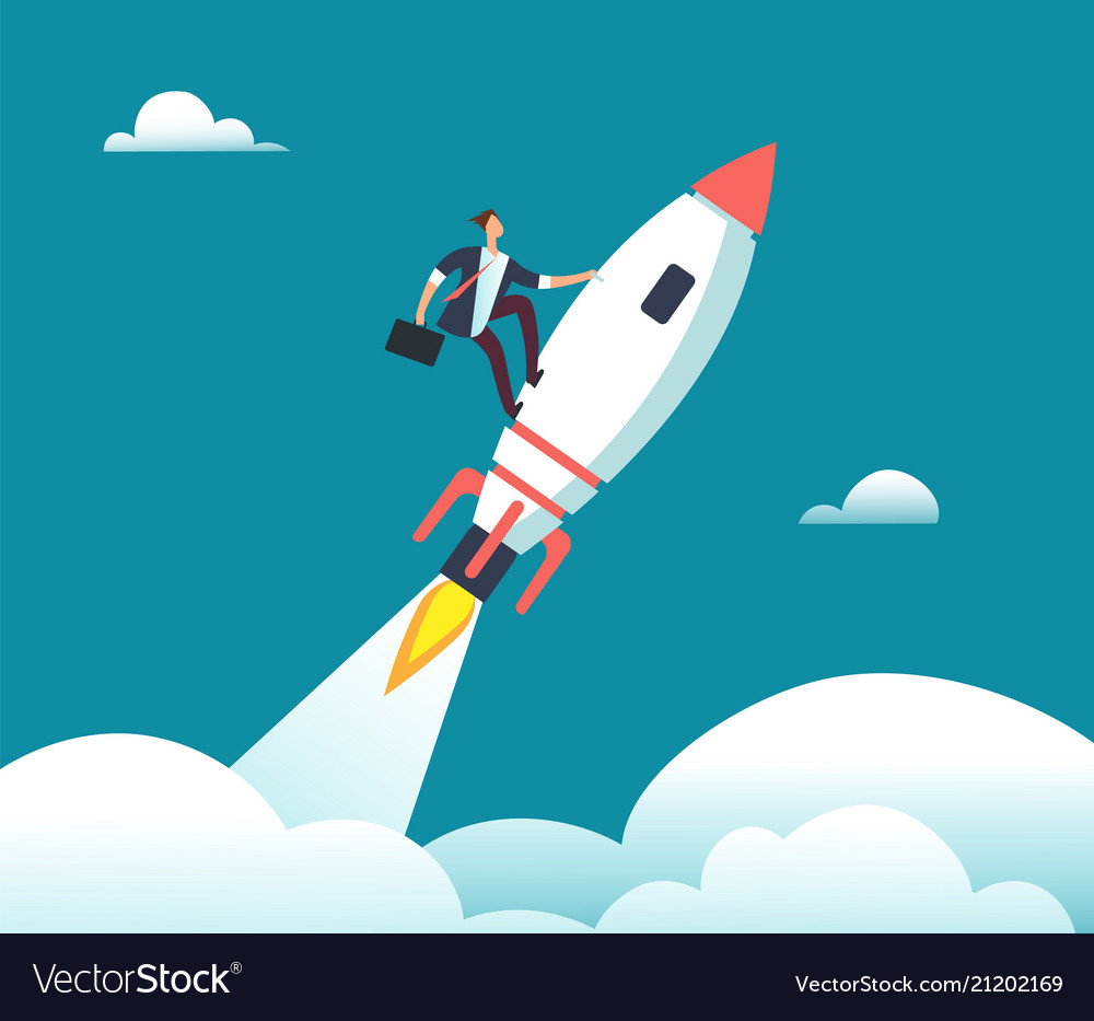 Successful happy businessman flying on rocket to