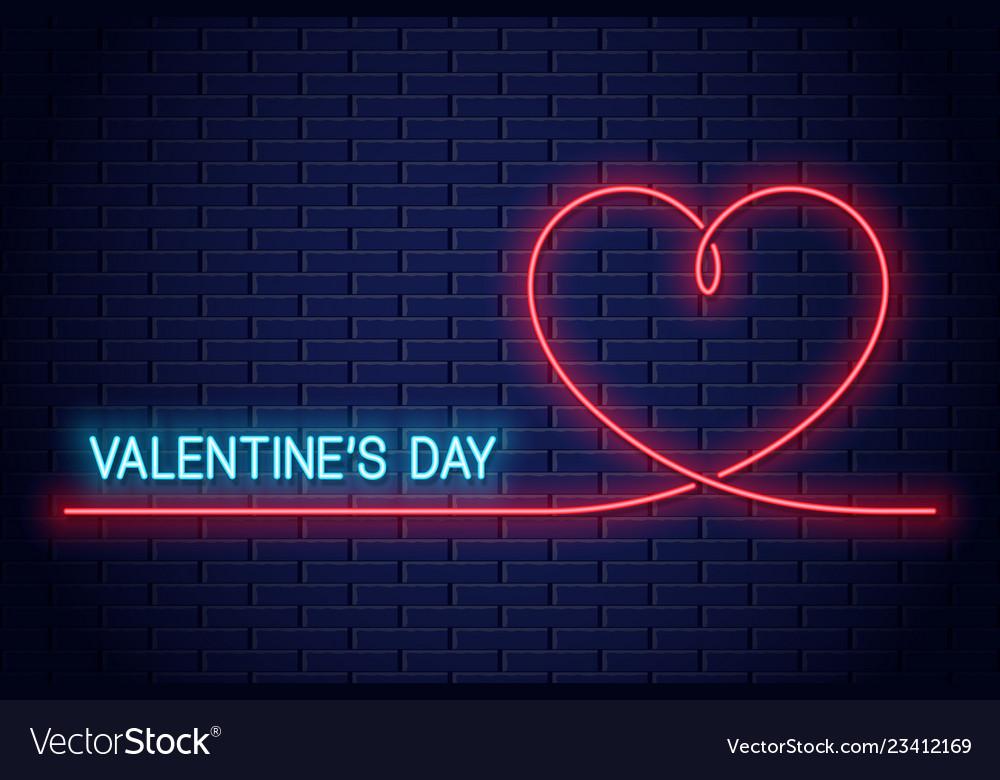 Valentines day neon banner valentines heart neon