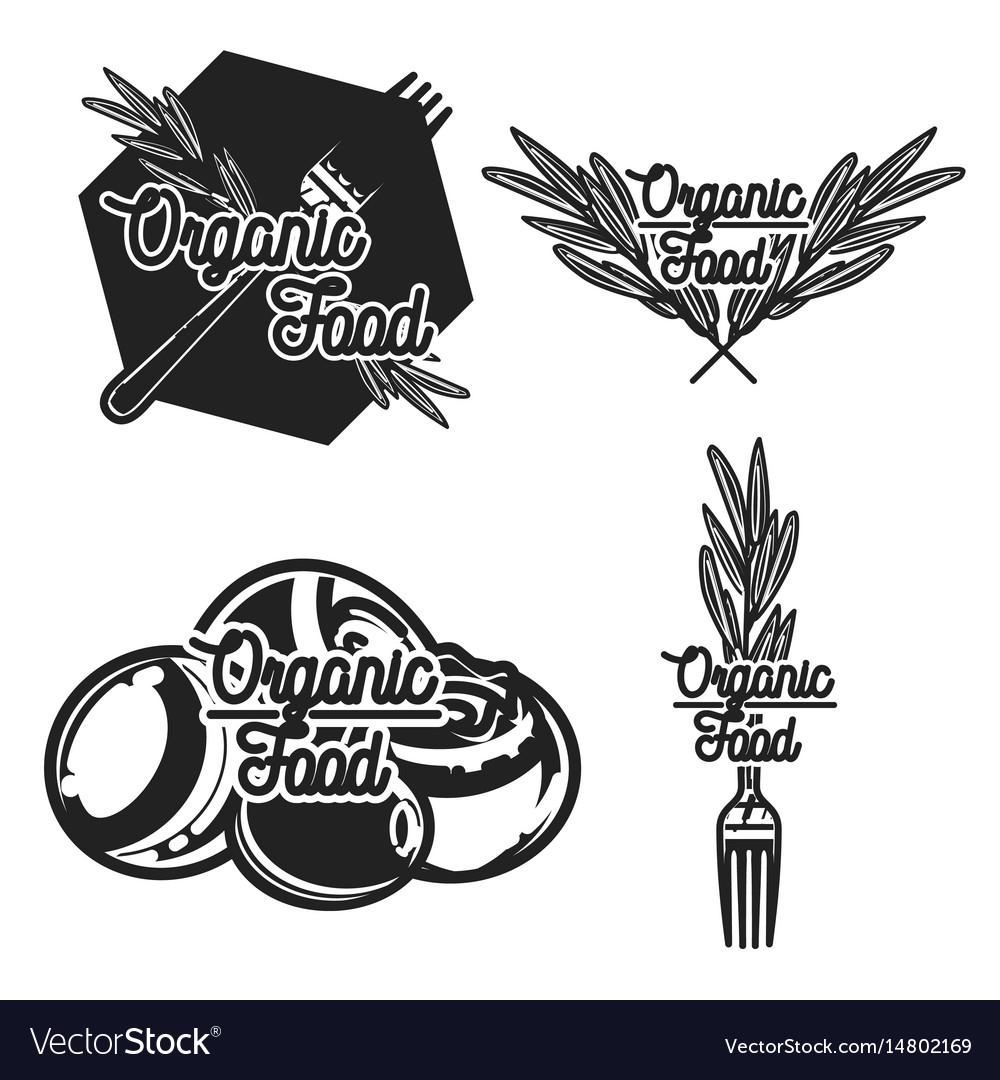 Vintage organic food emblems vector image