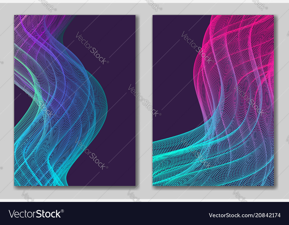 Abstract backgrounds set with vertical wavy line
