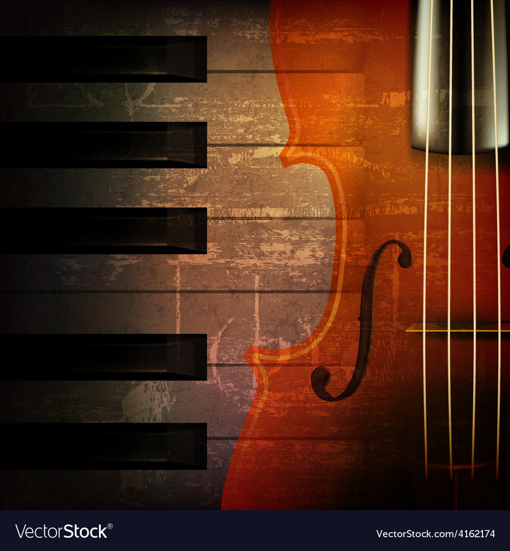 Abstract brown grunge music background with violin vector image