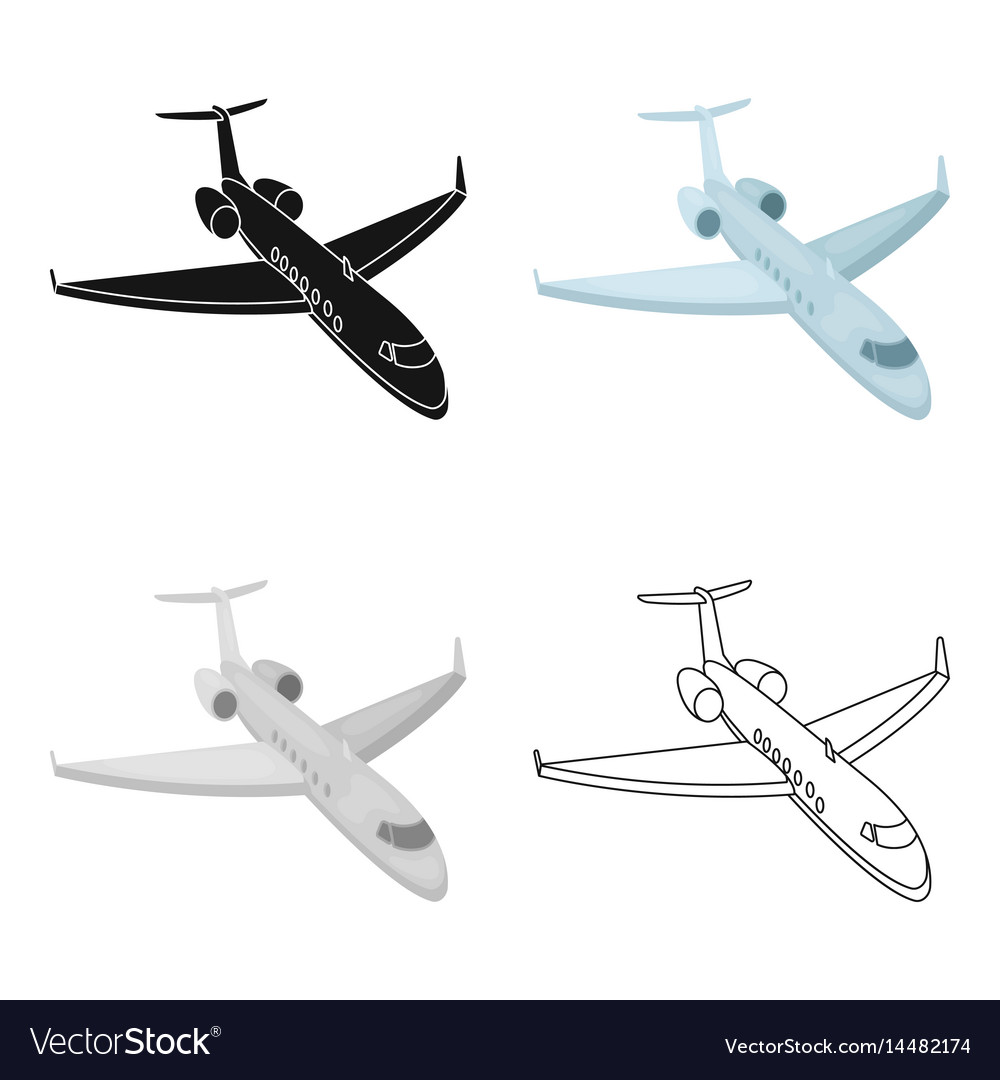 Airplane icon in cartoon style isolated on white