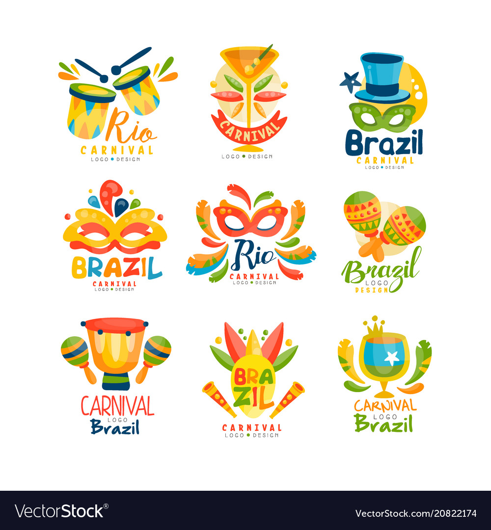 Brazilian carnival logo design set bright fest