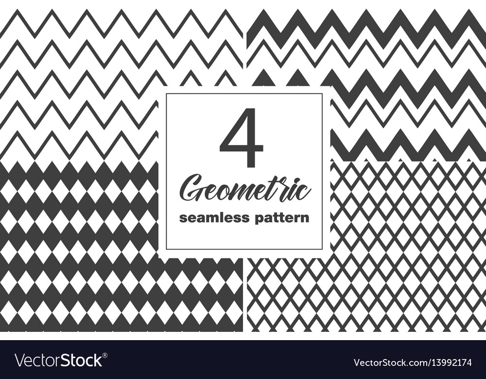 Collection of seamless geometric pattern vector image