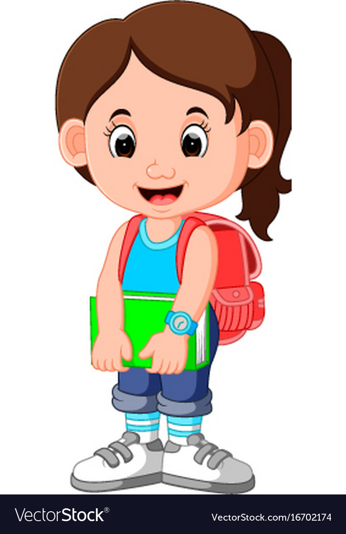 Cute Girl Go To School Cartoon Royalty Free Vector Image-1141