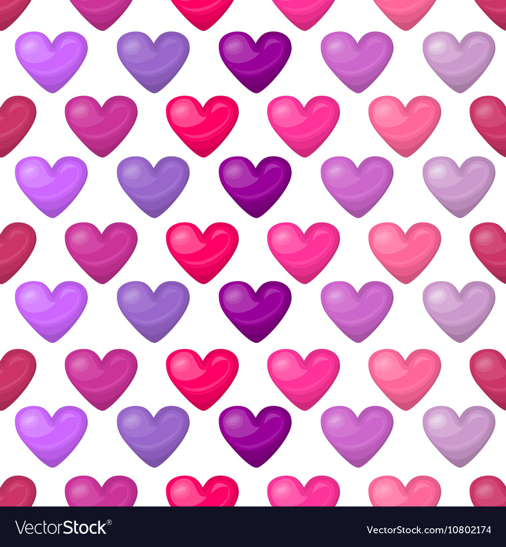 Cute shiny seamless heart pattern isolated on